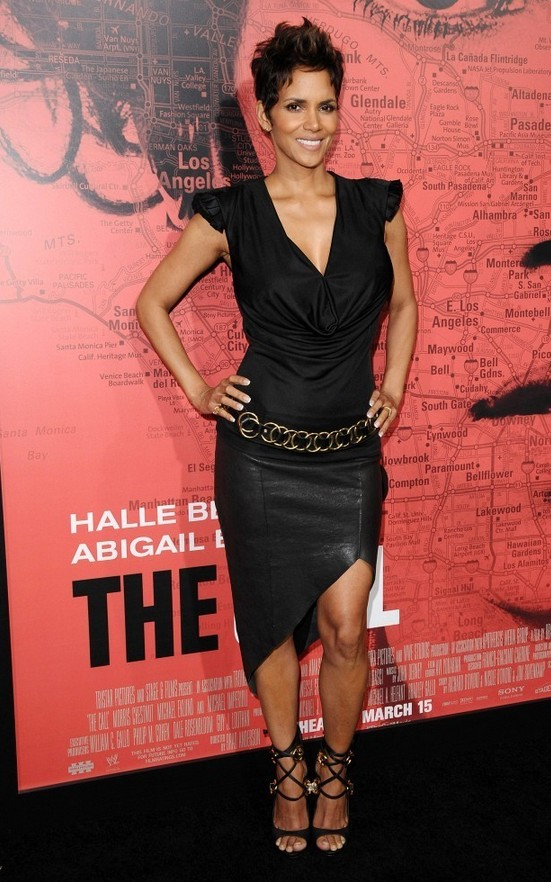 Halle Berry Black Draped Knit Top