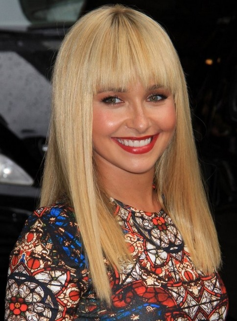 Hayden Panettiere Long Hairstyles: Blone Straight Hairstyle for Bangs 2014