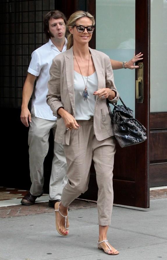 Heidi Klum Casual Tan Pantsuit