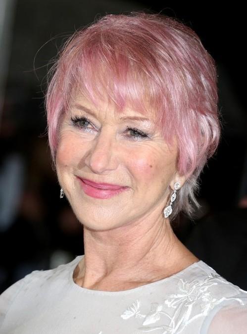 Helen Mirren Pink Short Hair - 2014 Short Hairstyle for Women Over 60s