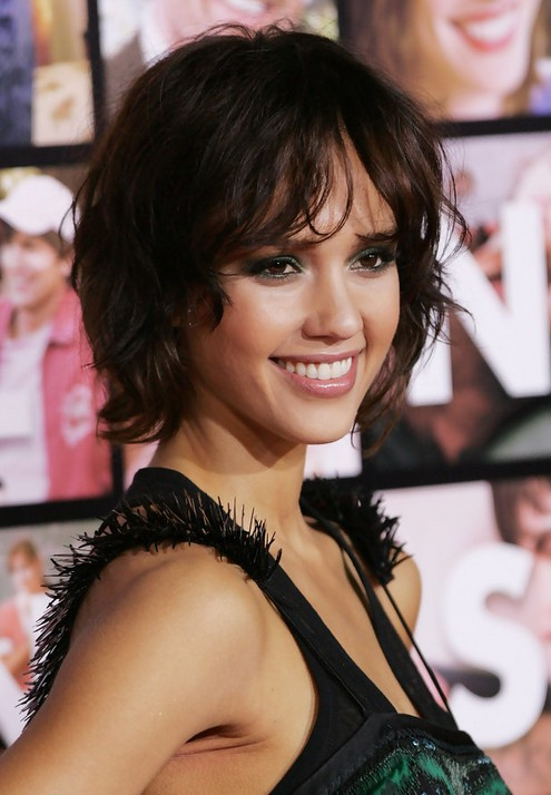 Excellent Jessica Alba Short Curly Bob Hairstyle For Women Pretty Designs Hairstyle Inspiration Daily Dogsangcom