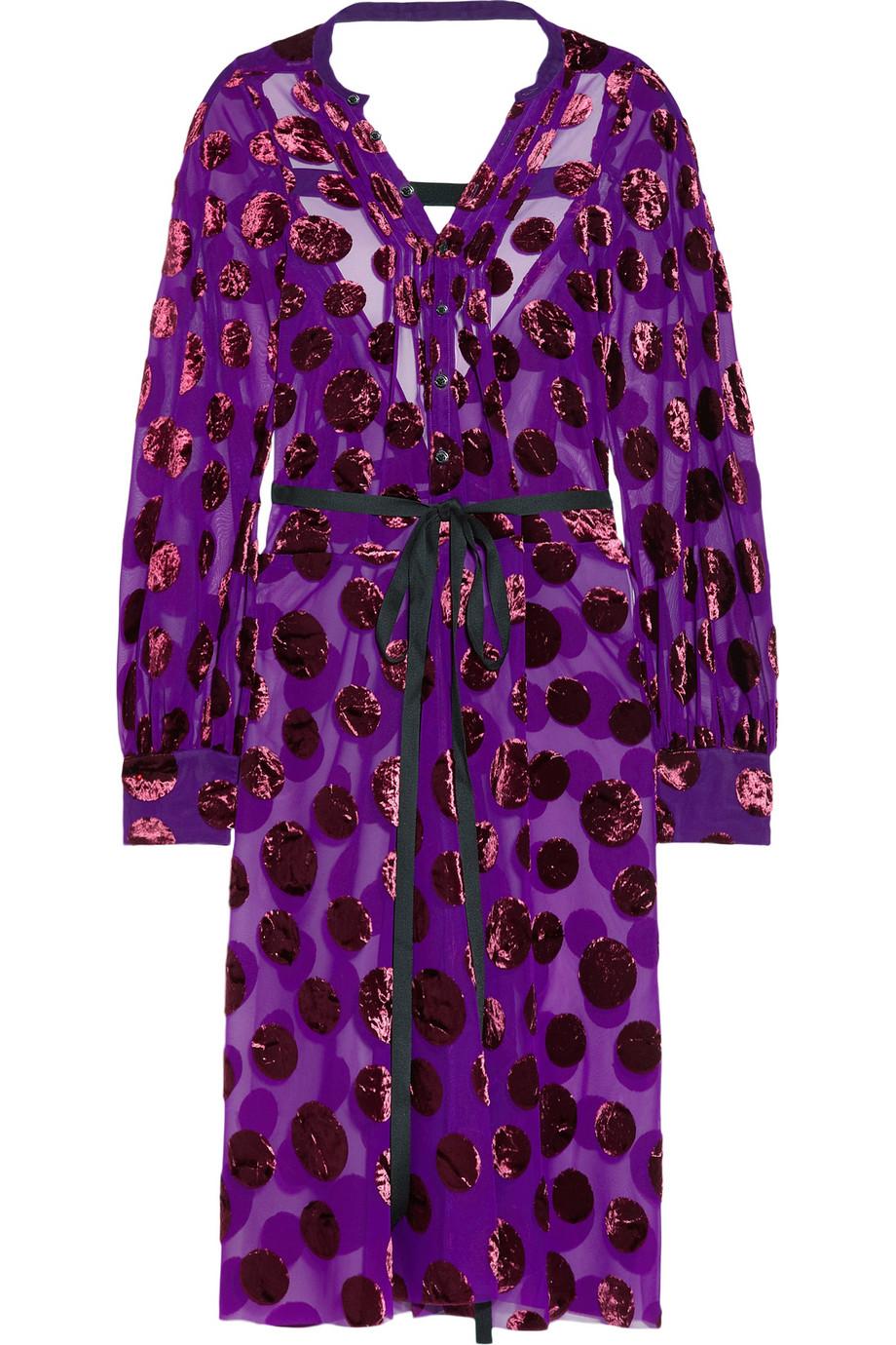 JUNYA WATANABE Polka-dot velvet-jacquard dress