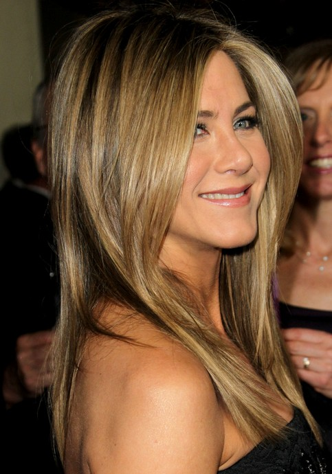 Jennifer Aniston Long Hairstyle: Deep Side Parting