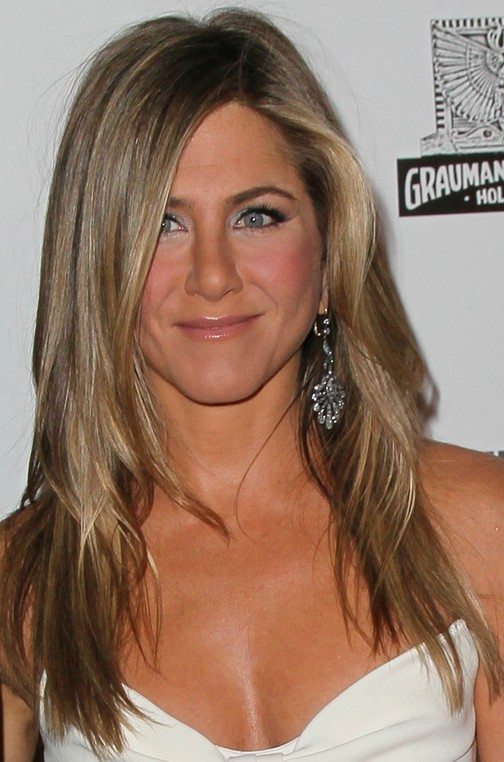 Jennifer Aniston Long Hairstyle Straight Hair With Curly Parting