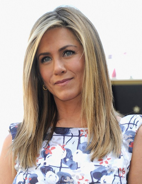 Jennifer Aniston Long Hairstyle: Straight Haircut with Long Side Parting