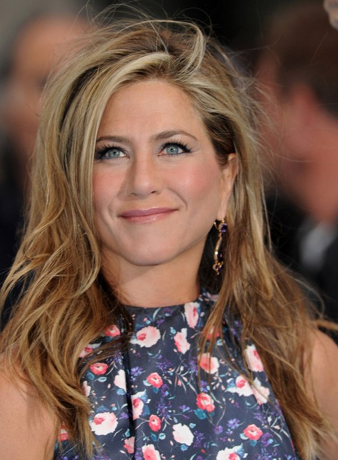 Jennifer Aniston Long Hairstyles: 2014 Side-swept Bangs