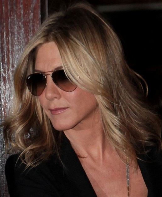 Jennifer Aniston Medium Length Hairstyle: Waves with Side Parting