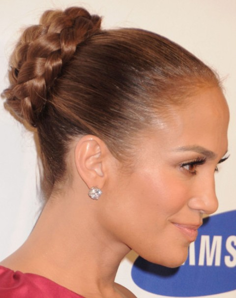 Jennifer Lopez Hairstyles: Sleek Braided Bun for Formal Occasions