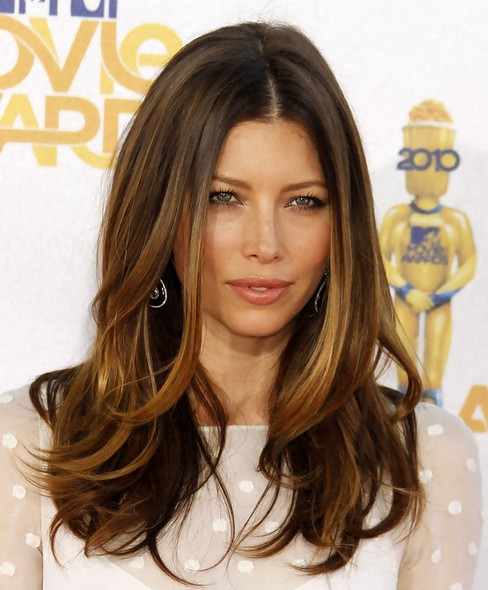 Jessica Biel Long Hairstyle: Layered Hair
