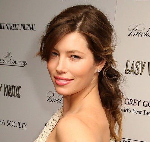 Fantastic Jessica Biel Long Hairstyle Loose Ponytail With Long Side Parting Short Hairstyles Gunalazisus