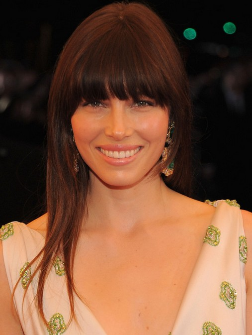 Jessica Biel Long Hairstyle: Straight Brown Hair with Bangs