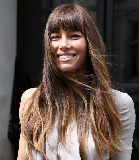 Fantastic Jessica Biel Long Hairstyle Straight Haircut With Thick Bangs Hairstyles For Women Draintrainus
