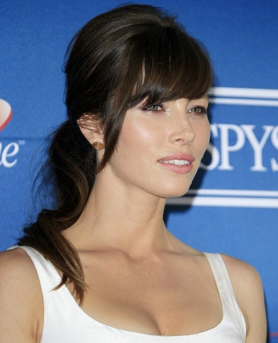 Jessica Biel Long Hairstyle: Stylish Ponytail
