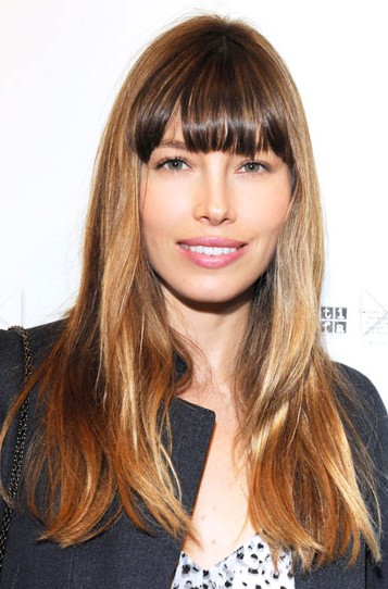 Jessica Biel Long Hairstyle with Bangs