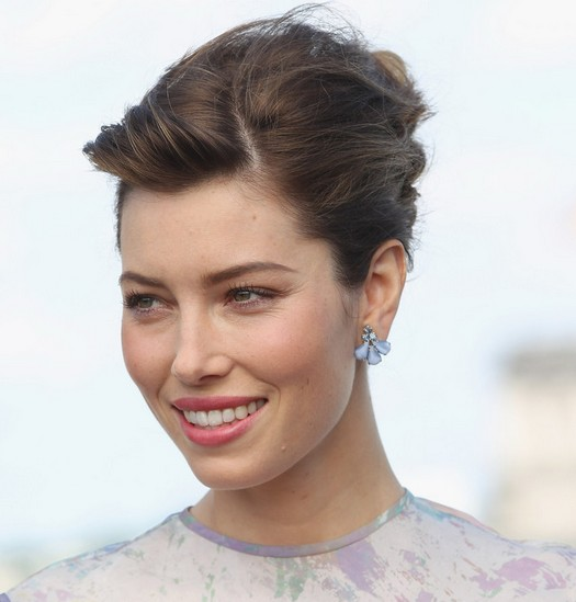 Jessica Biel Short Hairstyle: French Twist without Bangs
