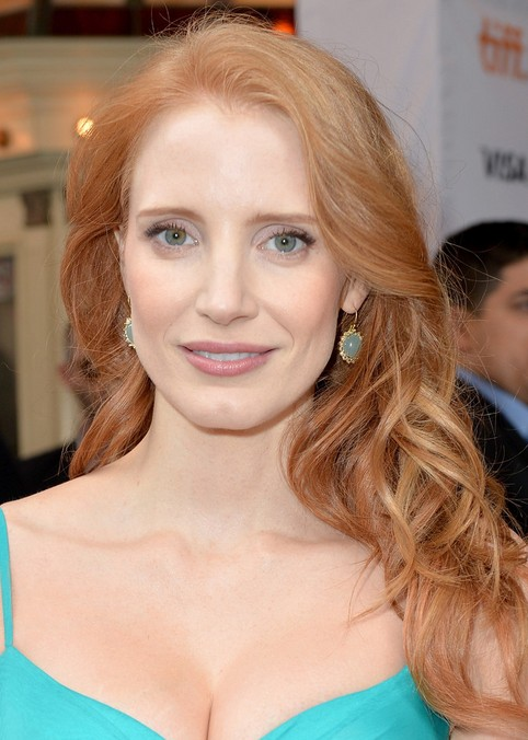 Jessica Chastain Long Hair Style 2014 Soft Waves Pretty