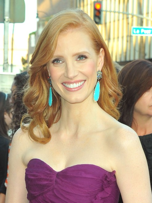 Jessica Chastain Long Hairstyle: Curls for Women under 30