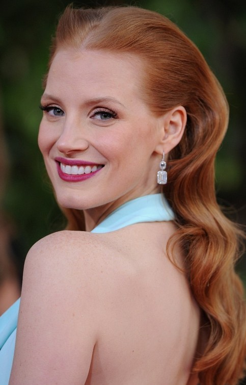 Jessica Chastain Long Hairstyle: Curls with Center Part