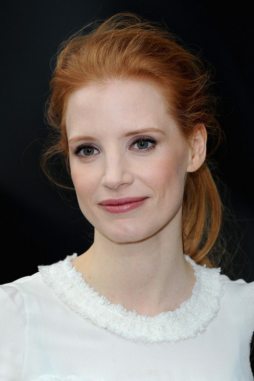 Jessica Chastain Long Hairstyle: Fluffy Ponytail