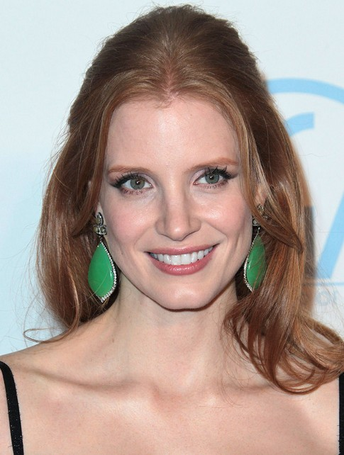 Jessica Chastain Long Hairstyle: Half Up Half Down with Center Part