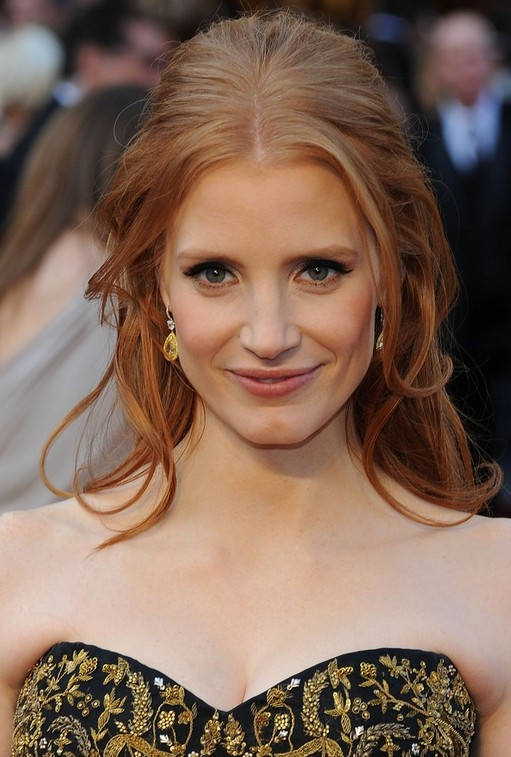 Jessica Chastain Long Hairstyle: Half Up Half Down with Strands