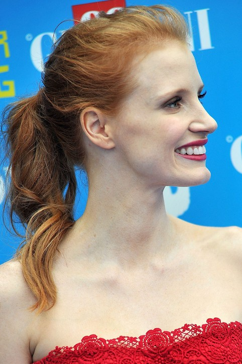 Jessica Chastain Long Hairstyle: Ponytail withour Bangs