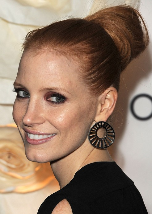 Jessica Chastain Long Hairstyle: Pretty Bun