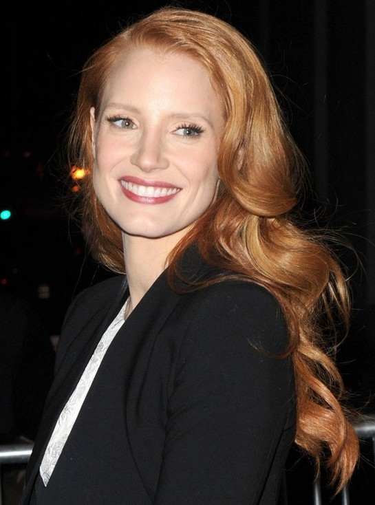 Jessica Chastain Long Hairstyle: Red Waves