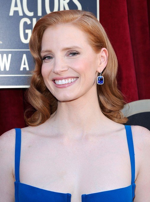 Jessica Chastain Long Hairstyle: Romantic Curls