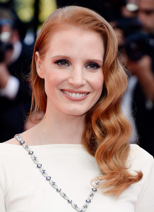 Jessica Chastain Long Hairstyle: Side-parted Curls