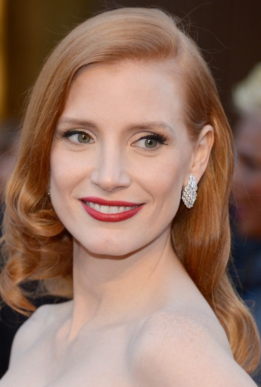 Jessica Chastain Long Hairstyle: Sleek Curls