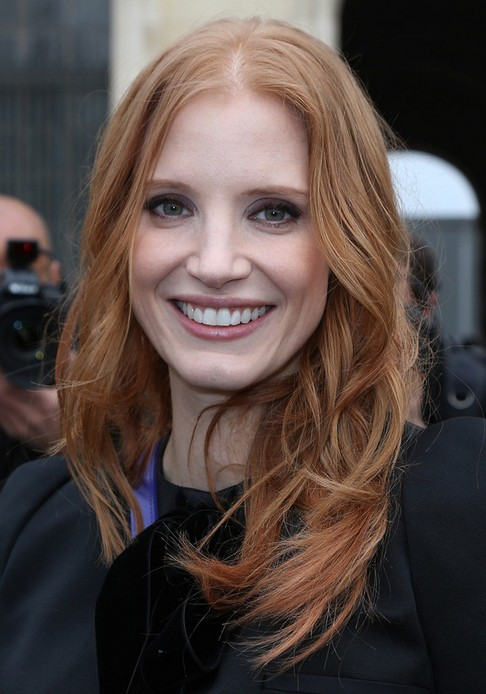 Jessica Chastain Long Hairstyle: Strawberry Curls