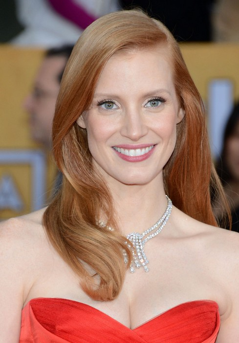 Jessica Chastain Long Hairstyle-Waves for Dating