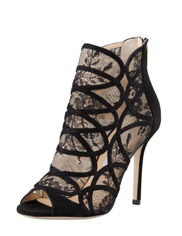 Jimmy Choo Fauna Lace-Suede Cage Sandal, Black