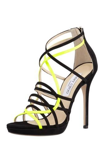 Jimmy Choo Myth Strappy Suede Sandal,Black Yellow