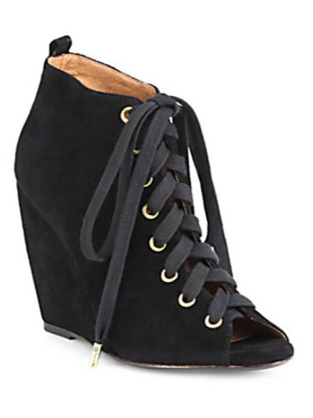 Joie Rainey Suede Lace-Up Wedge Ankle Boots