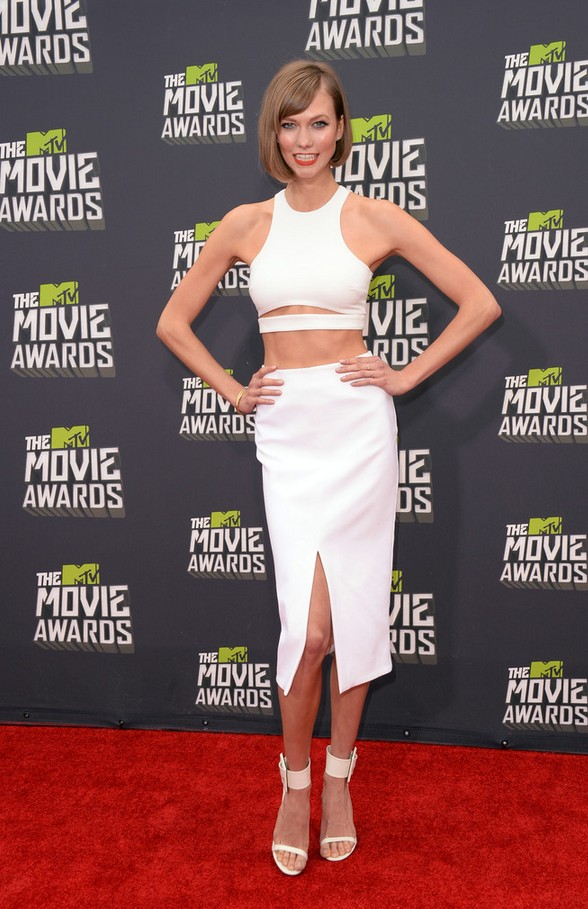 Karlie Kloss Sleek and Contemporary White Crop Top.