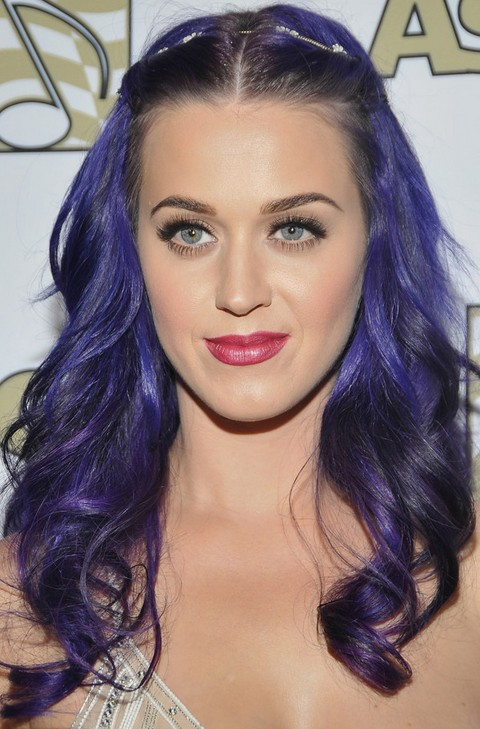 Kat Perry Hairstyles: Center-parted Purple Curls