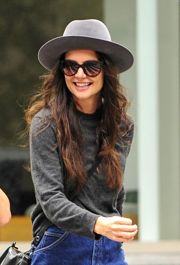 Katie Holmes Grey Crewneck Sweater