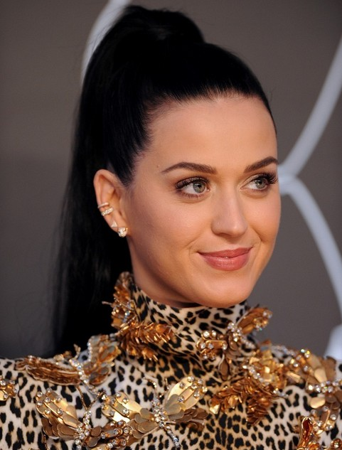 Katy Perry Long Hairstyles 2014: Sleek High Ponytail