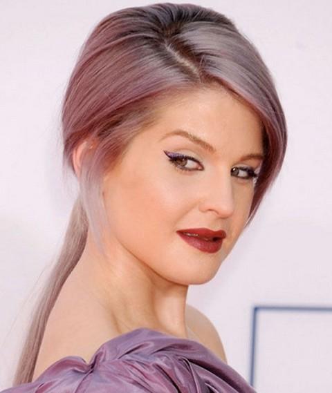 Surprising Kelly Osbourne Hairstyles Sleek Ponytail With Bangs Pretty Designs Hairstyles For Men Maxibearus
