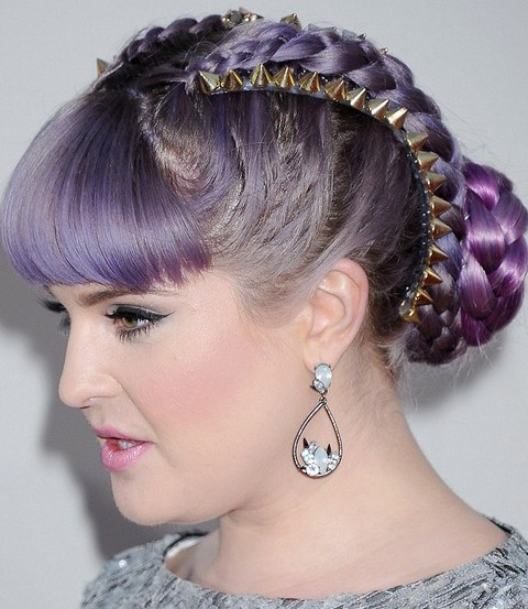 Kelly Osbourne Hairstyles Super Chic Braided Updo With Blunt Bangs