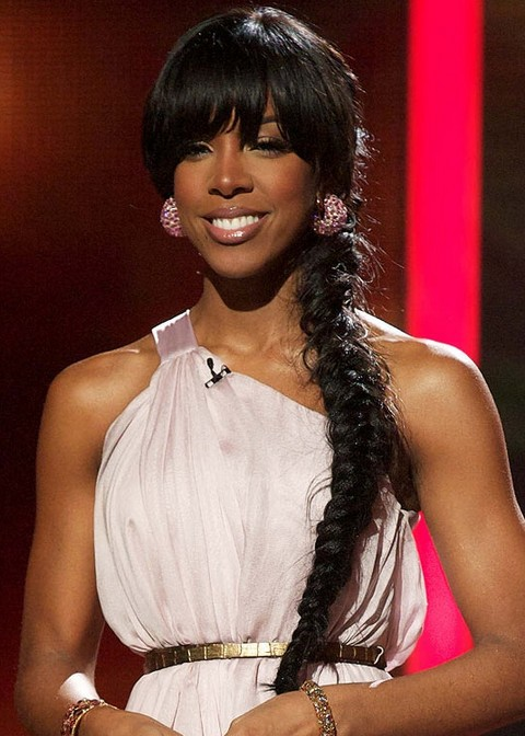 Kelly Rowland Hairstyles: Long Braided Hairstyle with Bangs