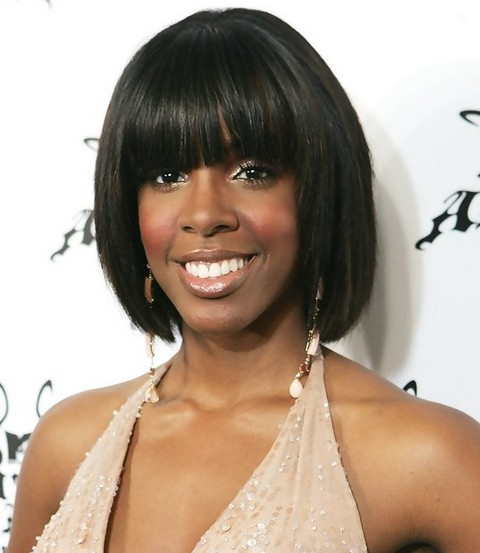 Kelly Rowland Hairstyles: Lovely Short Bob with Bangs