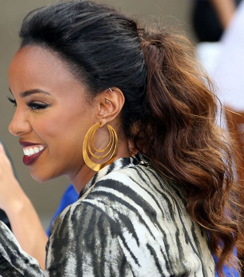 Kelly Rowland Hairstyles Wavy Ponytail
