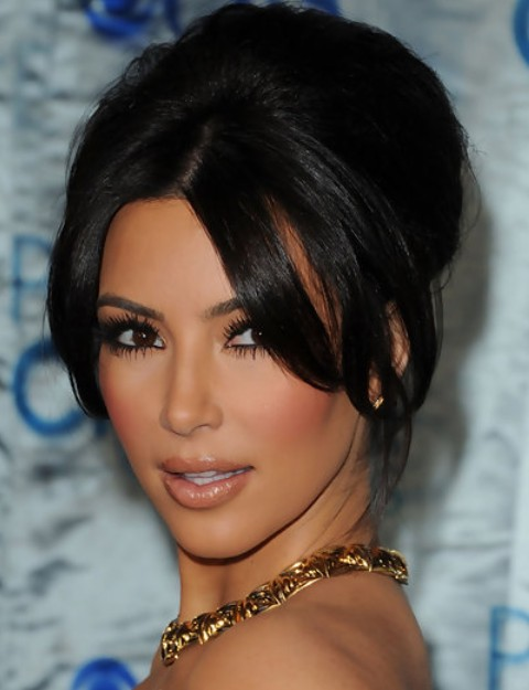 Kim Kardashian Hairstyles: Graceful French Twist with Center-parted Bangs