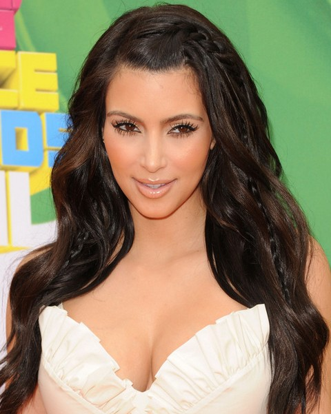 Kim Kardashian Long Hairstyles: Adorable Long Curls with Braids