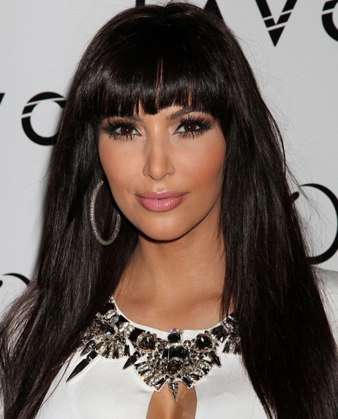 Kim Kardashian Long Hairstyles: Cute Straight Haircut with Blunt Bangs