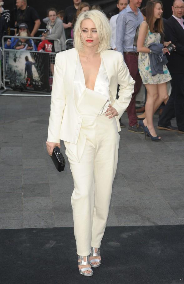 Kimberley Wyatt Edgy-chic White Pantsuit