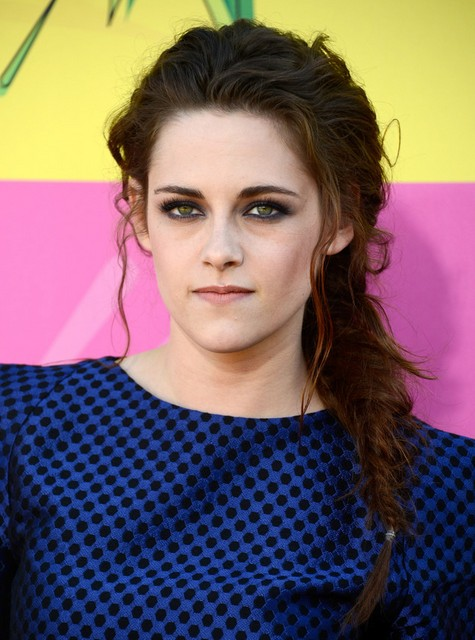 Kristen Stewart Long Hairstyles: Messy Fishtail Hairstyle